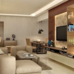 LIVING & DINING AREA:  Living room by A Design Studio