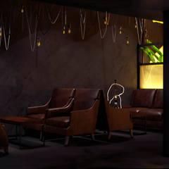 Дизайн основного зала кальянной в индустриальном стиле: Коммерческие помещения в . Автор – Art-i-Chok