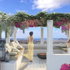 بلكونة أو شرفة تنفيذ architetto stefano ghiretti , بحر أبيض متوسط سيراميك