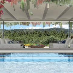 Can Abi: Giardino con piscina in stile  di architetto stefano ghiretti