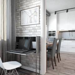 Квартира 75 кв.м. в стиле лофт на Мичуринском.: Гостиная в . Автор – Студия архитектуры и дизайна Дарьи Ельниковой, Лофт