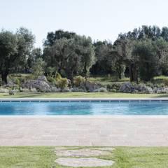 Masseria La Conchiglia _ I Patii: Giardino con piscina in stile  di architetto stefano ghiretti