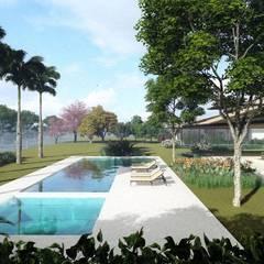 Paisagismo Casa de Campo: Jardins de fachadas de casas  por Gisele Gaiguer Arquitetura Paisagística