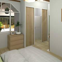 Création d'une chambre et rénovation d'une salle de bain: Chambre de style  par MJ Intérieurs