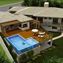 Condomínio do Lago: Casas do campo e fazendas  por Keila Bernardes arquitetura e interiores
