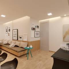 Apartamento MJ: Salas de estar escandinavas por Alessandro Ramos Arquitetura