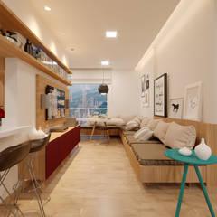 Apartamento MJ: Salas de estar  por Alessandro Ramos Arquitetura