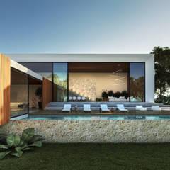 Casa Minas: Casas familiares  por Maria Luiza Aceituno arquitetos