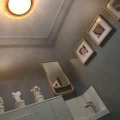 Espace toilettes avec lave-mains: Planchers de style  par HOME feeling