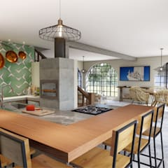cozinha gourmet: Armários e bancadas de cozinha  por realizearquiteturaS