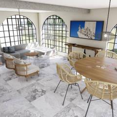 sala de estar: Casas do campo e fazendas  por realizearquiteturaS
