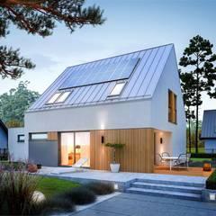 Mini 5 G1 PLUS - nowoczesny i oszczędny dom na duży PLUS: styl , w kategorii Domy zaprojektowany przez Pracownia Projektowa ARCHIPELAG