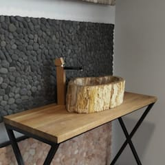 Natural petrified wood vessel sinks: mediterranean Bathroom by Lux4home™ Indonesia