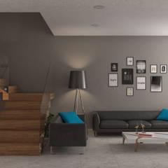 Sala-Escalera: Salas de estilo  por Eutopia Arquitectura