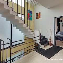 50×80 House South West Corner | Inspiring Elevation Design, Interiors | Lincon's Villa:  Stairs by Ashwin Architects In Bangalore,Modern