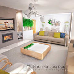 Livings de estilo  por Andreia Louraço - Designer de Interiores (Contacto: atelier.andreialouraco@gmail.com)