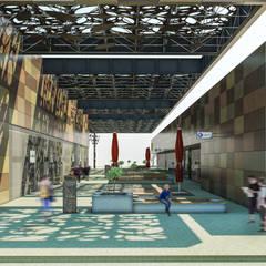 Camara 2 - Vista de patio central: Shoppings y centros comerciales de estilo  por DUSINSKY S.A.