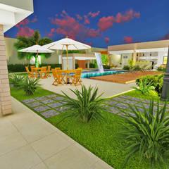Varanda Gourmet + Jardim: Jardins de pedras  por Ambientando Arquitetura & Interiores