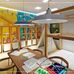 Brinquedoteca + Sala de Estudos: Quartos das meninas  por Ambientando Arquitetura & Interiores