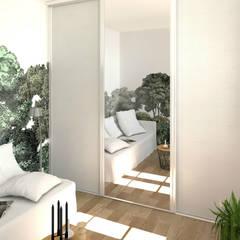 """Panoramique """"Bellewood"""" (Rebel Walls): Chambre de style  par MJ Intérieurs"""