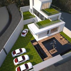 全區鳥瞰圖:  庭院池塘 by 勻境設計 Unispace Designs