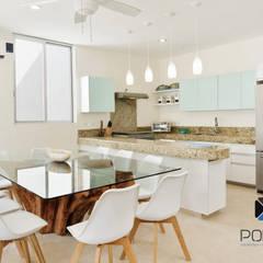 PROYECTO VILLA WAYAK: Comedores de estilo mediterraneo por PORTO Arquitectura + Diseño de Interiores