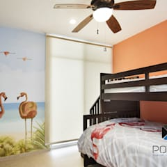 PROYECTO VILLA WAYAK: Recámaras infantiles de estilo mediterraneo por PORTO Arquitectura + Diseño de Interiores
