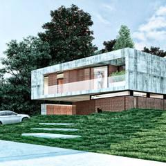 Fachada a la calle: Casas unifamiliares de estilo  por síncresis arquitectos