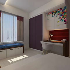Room with Sitting area near Window: modern Bedroom by ANUP DEZINES