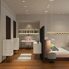 Living room with walkway: modern Bedroom by ANUP DEZINES