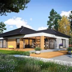Karen G2 - nowoczesny dom z pięknym tarasem : styl , w kategorii Dom jednorodzinny zaprojektowany przez Pracownia Projektowa ARCHIPELAG