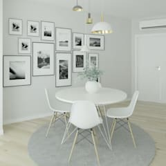Projeto 3D Sala Estilo Escandinavo: Salas de jantar  por Ana Andrade - Design de Interiores