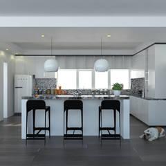 مطبخ ذو قطع مدمجة تنفيذ Imagen + Diseño + Arquitectura,