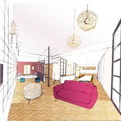Lumière et espaces: Salon de style  par Faiseur de Lieux