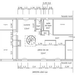 plan existant: Salon de style de style Industriel par Faiseur de Lieux