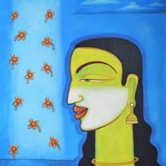 Lady with flowers: asian  by Indian Art Ideas,Asian