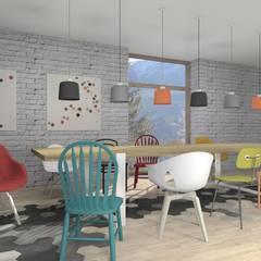 DOM w górach: styl , w kategorii Jadalnia zaprojektowany przez MODULO Pracownia architektury wnętrz