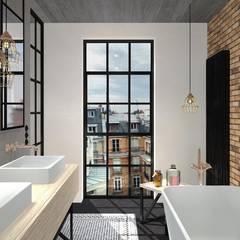 industrial Bathroom by MODULO Pracownia architektury wnętrz