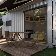 Casa Container de 40 PÉS: Corredores e halls de entrada  por Locares Casa Container e Projetos Customizados