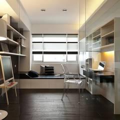 用色彩說故事:一個人的豪宅新生活:  書房/辦公室 by 禾光室內裝修設計 ─ Her Guang Design