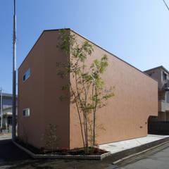 中庭を愛でるガレージハウス: 余田正徳/株式会社YODAアーキテクツが手掛けた木造住宅です。,地中海