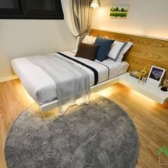 부산 분양 모델하우스 세팅, 산토리니 스타일 - 노마드디자인: 노마드디자인 / Nomad design의  침실