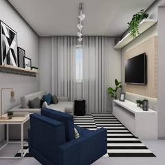 غرفة المعيشة تنفيذ Bruna Schuster Arquitetura & Interiores