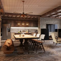 Phong cách Rustic ~ Rustic style ~ Vinhomes Central Park:  Phòng ăn by ICON INTERIOR,