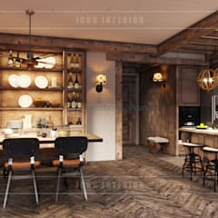 Phong cách Rustic ~ Rustic style ~ Vinhomes Central Park:  Phòng ăn by ICON INTERIOR