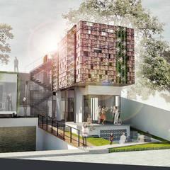 Casas unifamilares de estilo  de sigit.kusumawijaya | architect & urbandesigner, Tropical Madera Acabado en madera