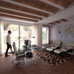 Habitación, Despacho , que ahora sirve de salón: Estudios y despachos de estilo moderno de LaBoqueria Taller d'Arquitectura i Disseny Industrial