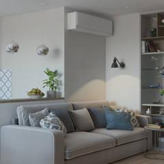 """ЖК """"Татьянин Парк"""", двухкомнатная квартира для молодой семьи: Гостиная в . Автор – OM DESIGN"""