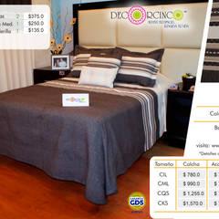 Hoteles de estilo  por DECORCINCO DISEÑO ARTESANAL TEXTIL; CORTINAS, COLCHAS, COJINES, MANTELES Y COMPLEMENTOS