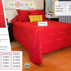 Hotéis  por DECORCINCO DISEÑO ARTESANAL TEXTIL; CORTINAS, COLCHAS, COJINES, MANTELES Y COMPLEMENTOS